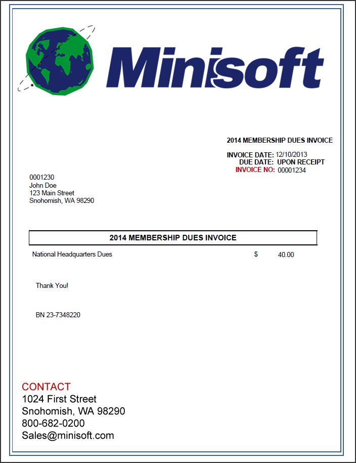 Membership Dues Invoice